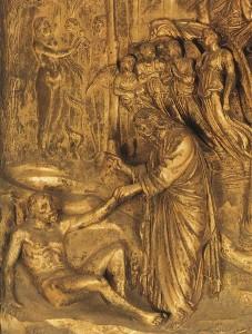 Creation of Adam and Eve detail by Lorenzo Ghiberti